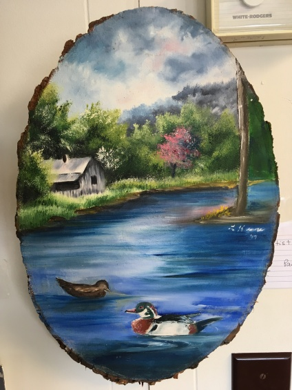 Painting on wood by Letitia Keene, $40