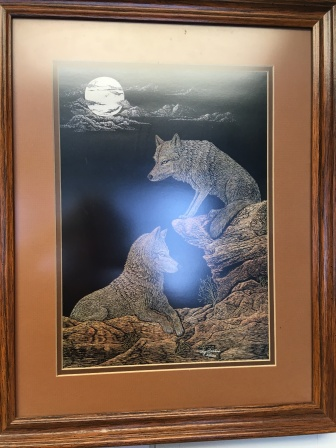 Framed print by P. Burrus, $75